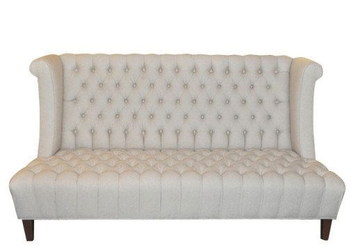 hand crafted tufted high back linen upholstered sofa by sara palacios designs. Black Bedroom Furniture Sets. Home Design Ideas