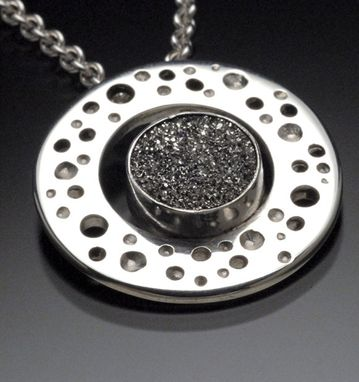 Custom Made Platinum Coated Druzy Set In Sterling Silver Circle On Cable Neckchain