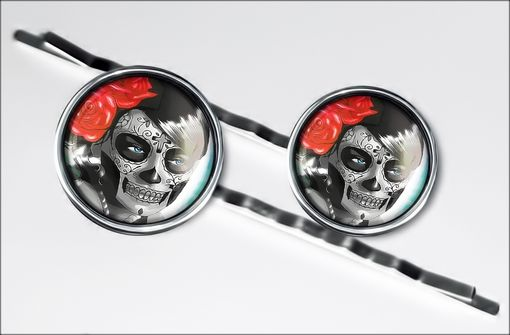 Custom Made Day Of The Dead Girl Silver Hair Clip Set 62-Shc