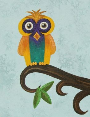 Custom Made Owl Nursery Art / Kids Wall Art Decor. Painting Not A Print.