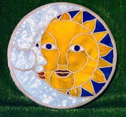 Custom Made Sun & Moon Mosaic Stepping Stone