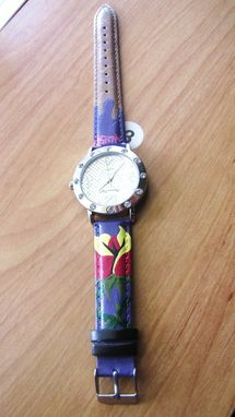 "Custom Made Hand Painted Custom Leather Band Wrist Watch ""Sweetest Desire"""