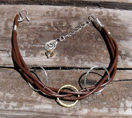 Custom Made Leather And Silver Bracelet