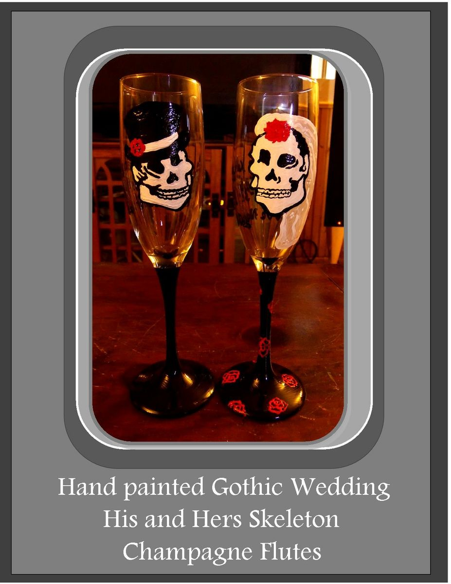 Custom Made Gothic Wedding Champagne Flutes Painted Gles Bride Groom