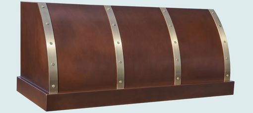 Custom Made Copper Range Hood With Brass Straps & Rivets