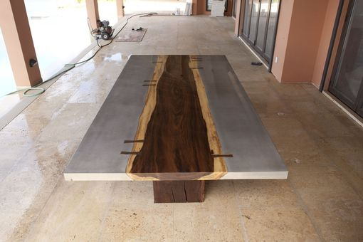 Custom Made Live Concrete Slab Table For 6