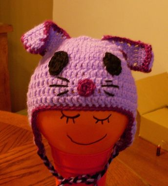 "Custom Made 16-18""- Purple Bunny Rabbit Earflap Hat - 6-12 Months"