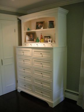 Custom Made Tall White Chest Of Drawers