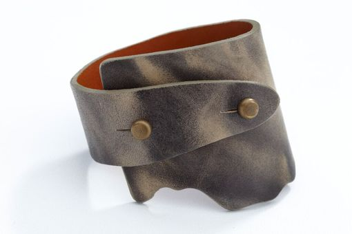 Custom Made Genuine Leather Wide-Wrap Bracelet In Washed Gray
