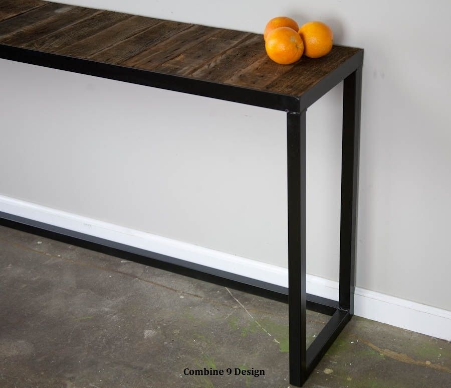 Buy a hand made sofa table steel reclaimed wood modern for Sofa table metal
