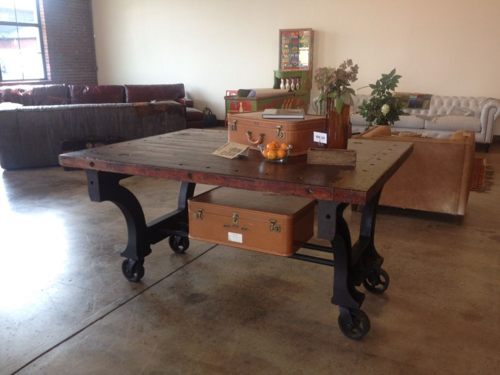 Hand Made Vintage Industrial Rolling PubDining Room Table By The - Rolling conference table