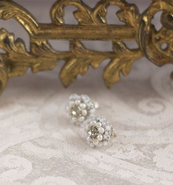 Custom Made Matilda Earrings | Freshwater Pearl Bridal Posts With Crystal, Lace