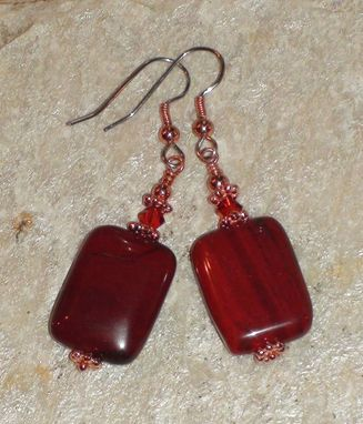 Custom Made Rainbow Brecciated Jasper Earrings With Swarovski Crystals In Copper