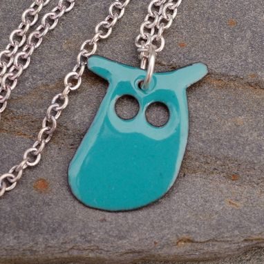 Custom Made Enamel Owl Pendant, Necklace, Copper, Enameled Jewelry - Turquoise