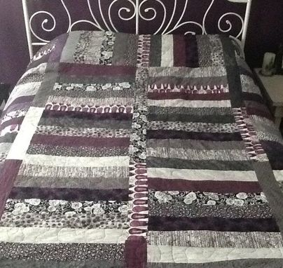 Custom Made Simple And Elegant Strip Quilt Done In Custom Colors
