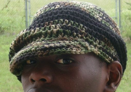 Custom Made The Oversized B-Boy Hat -Dreads Hat/ Brimmed Beanie - In Camouflage Green
