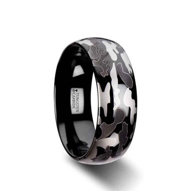 Custom Made Admiral Domed Black Tungsten Carbide Ring With Black And Gray Camo Pattern - 8mm