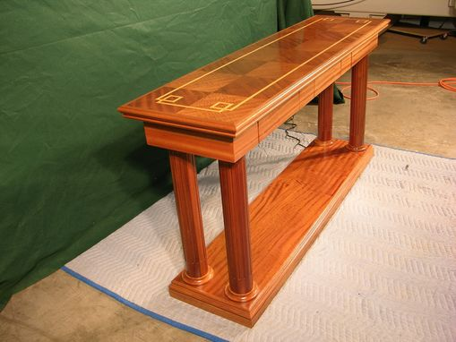 Custom Made Inlaid Sapele And Satinwood End Table