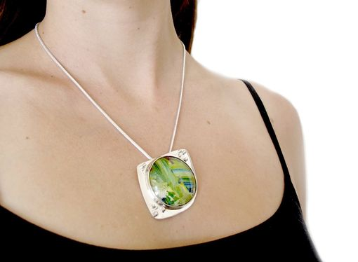 Custom Made Mint Green Pendant - Lime Green Necklace - Bright Green Pendant - Granulation Painted Pendant