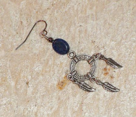 Custom Made Denim Lapis Lazuli And Pewter Feather Wheel Earrings In Silver