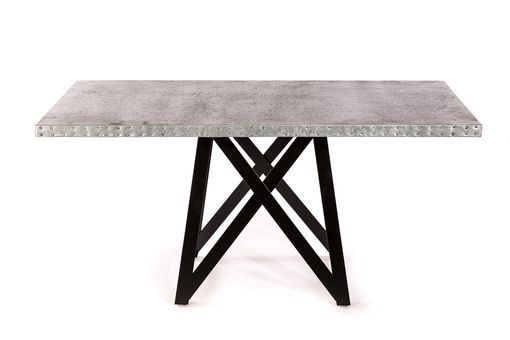 Custom Made Zinc Table Zinc Dining Table -  The Uptown Rectangular Zinc Top Dining Table