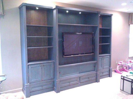 Custom Made Distressed Finish Entertainment Center