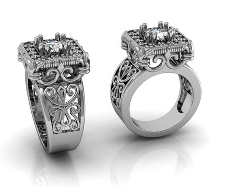 Custom Made Jewelry/Engagement Ring/Rings/Vintage Style Ring With Scrolls/