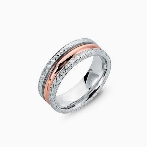 Custom Made 14 Kt Men S White Gold And Rose Wedding Band