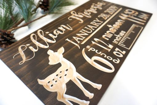 Custom Made Baby Stats, Birth Announcement - Carved Wood Sign