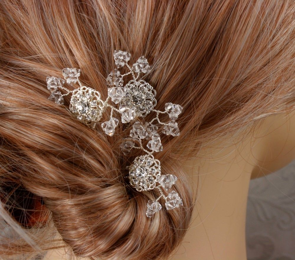custom made crystal baby's breath - bridal hair combs - wedding