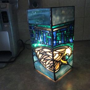 Hand made cabinet door stained glass panels by chapman for Alex cherry eagles become wall mural