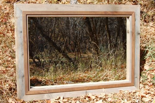 Custom Made Rustic Barnwood Mirror With Light Walnut-Stained Alder Overlay