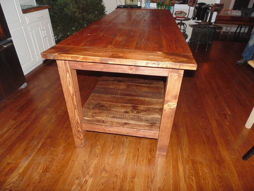 Custom Made Reclaimed Wood Farmhouse Kitchen Island