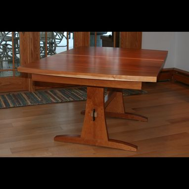 Custom Made Expanding Dining Room Trestle Pedestal Table With Thick Top (Shelter)