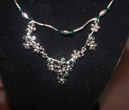Custom Made Necklace With Emerald Green Crystals And Flowers With Bees