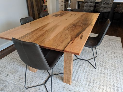 Custom Made Solid Curly Ambrosia Maple Dining Table Minimalist Style