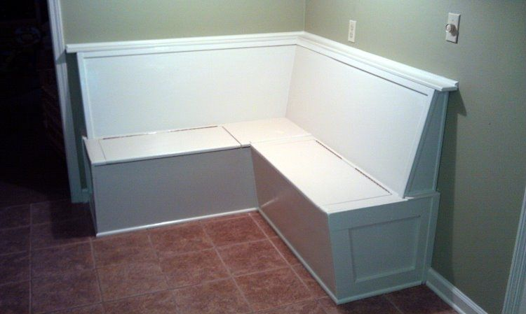 Handmade built in kitchen bench banquette seating with storage by ambassador woodcrafts Kitchen bench seating