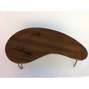 Mid Century Modern Coffee Table Solid Walnut Cocktail Table Kidney Bean Shaped