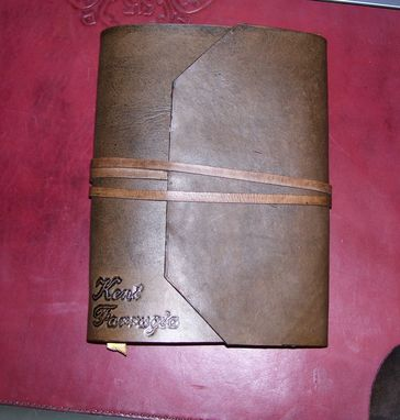 Custom Made Custom Leather Journal With Wrap Around Angled Flap & Strap
