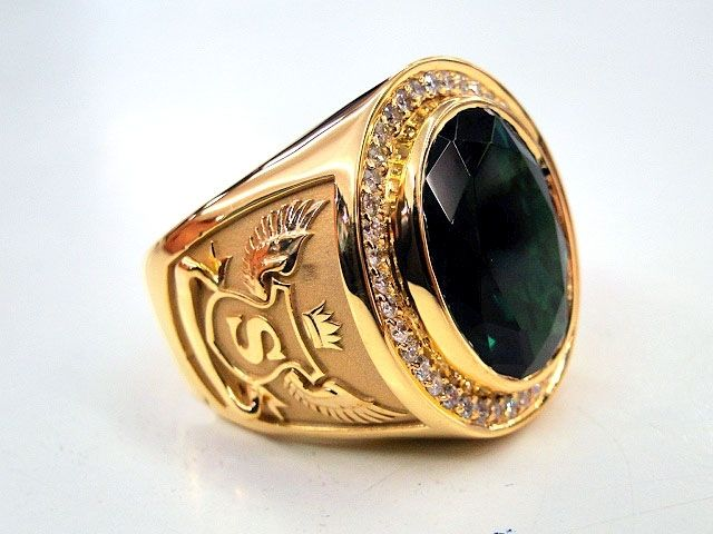 Custom Bishops Ring Green Stone Men s Signet 14k Yellow Gold by