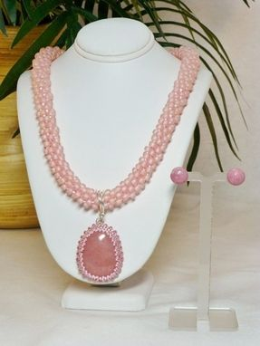 Custom Made Set - Pink Ab Kumihimo Necklace With Peruvian Pink Opal And Matching Earrings