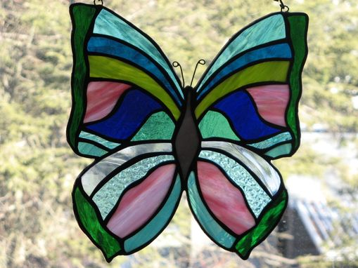 Custom Made Purple, Pink, Turquoise, Blues Or Greens Stained Glass Butterfly Light Catcher