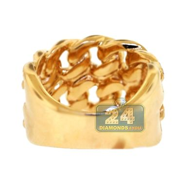Custom Made 14k Yellow Gold 0.35 Ct Diamond Miami Cuban Mens Ring