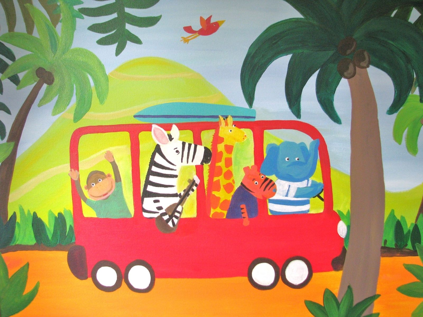 Custom Made Original Acrylic Painting For Children S Nursery Jungle Fun
