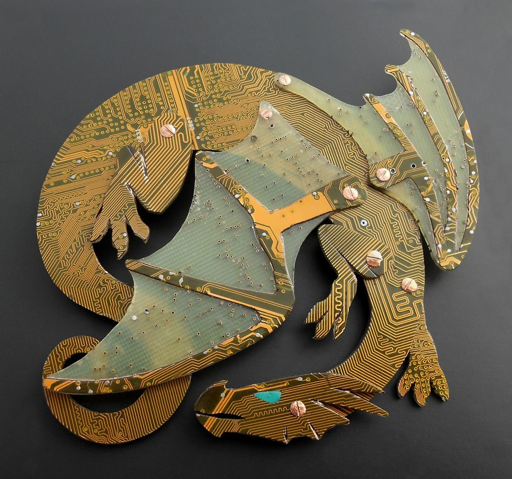 Buy A Hand Made Circuit Board Dragon Brooch To Order From Blue Copper Cuff Bracelet Kraken