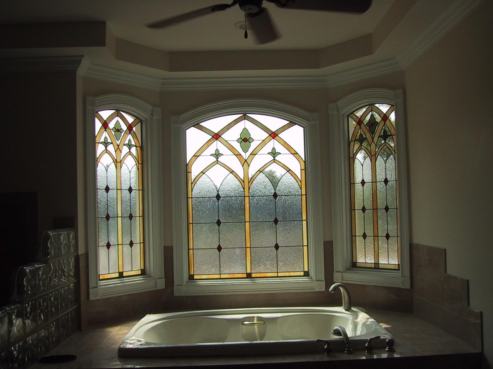 Custom leaded glass bathroom window by the looking glass for Stained glass bathroom window designs