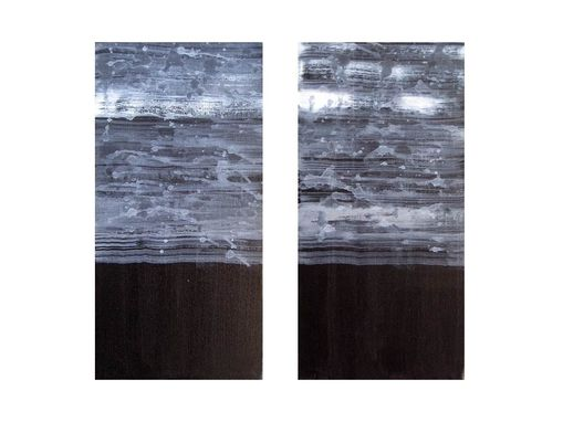 "Custom Made Abstract Painting Black And White Original 12""X12""- Two Panels"
