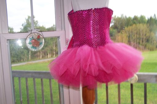 Custom Made Hot Pink Girls Sequin Tutu Dance Costume