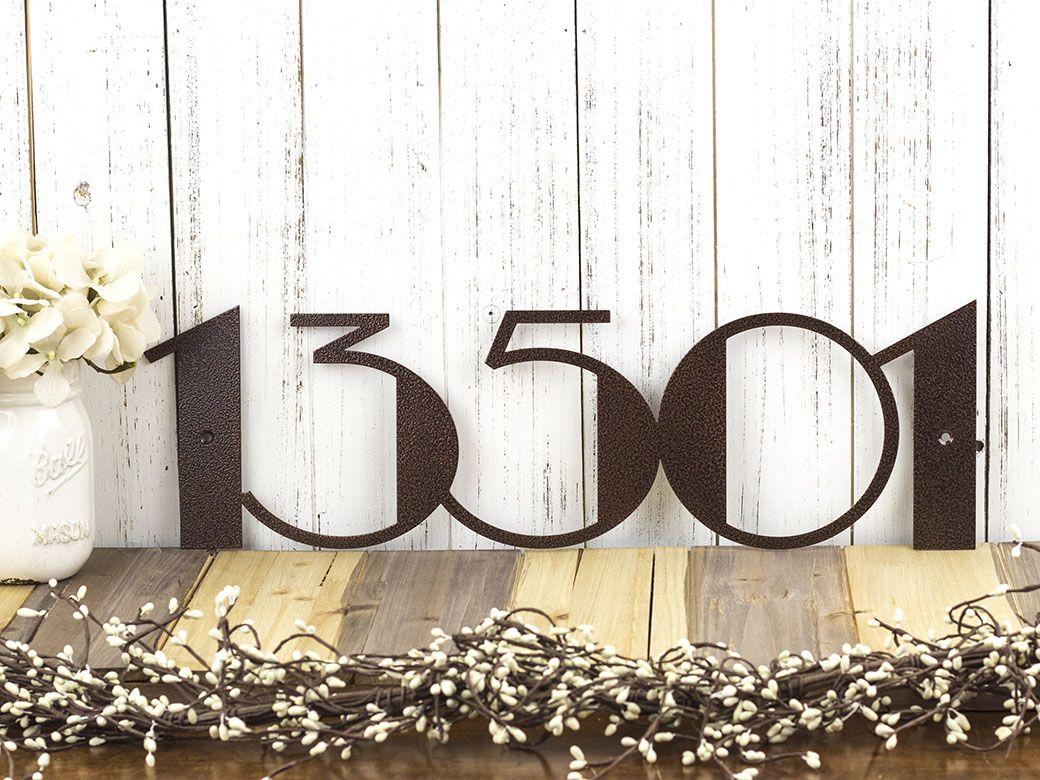buy a custom made modern house number metal sign art deco art deco numbers address sign. Black Bedroom Furniture Sets. Home Design Ideas