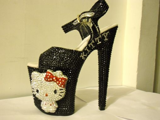 Custom Made 3d Crystallized Hello Kitty Heels (Black/Red)